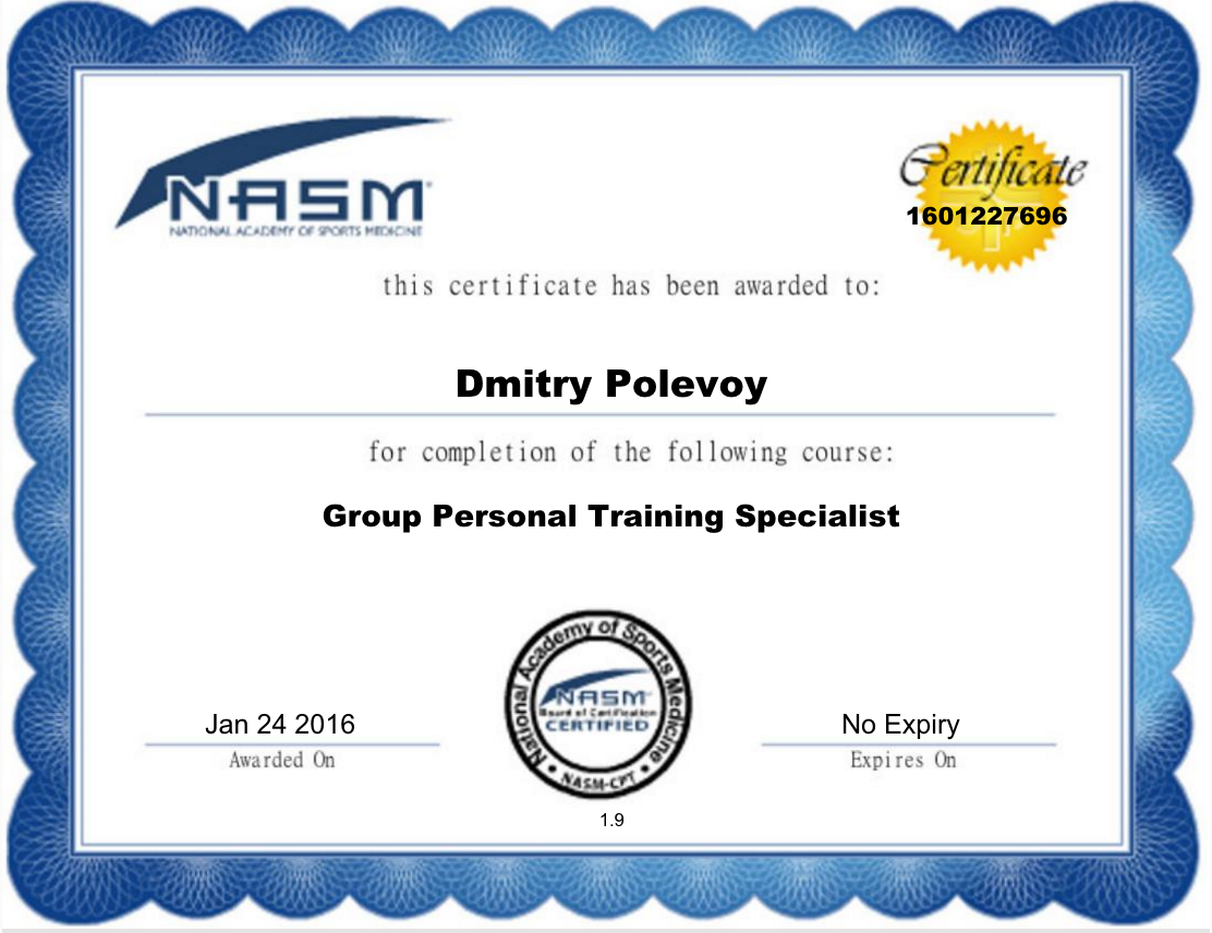 Dmitry polevoy personal trainer profile guided fitness nasm certified personal trainer nasm group personal training specialist xflitez Images
